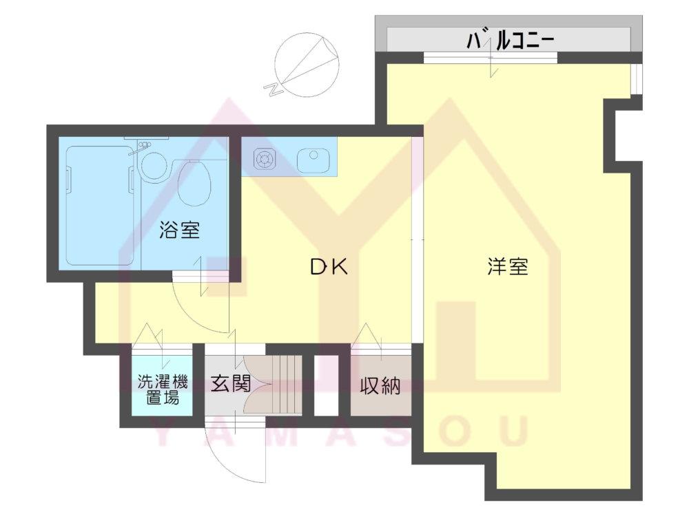 西淀川区姫島2丁目 1K  【分譲賃貸】ロイヤル姫島の間取り画像