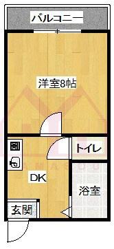 シャインコスモマンション 1DKの間取り画像